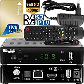 hd-line Tivusat Satelliten SAT Receiver - Digitaler IPTV Box und KARTE (HDTV, WIFI, DVB-S/S2, HDMI, AV, 2x USB 2.0, 4K) (Vorprogrammiert für Astra Hotbird und Türksat) - Italienisch, Russisch