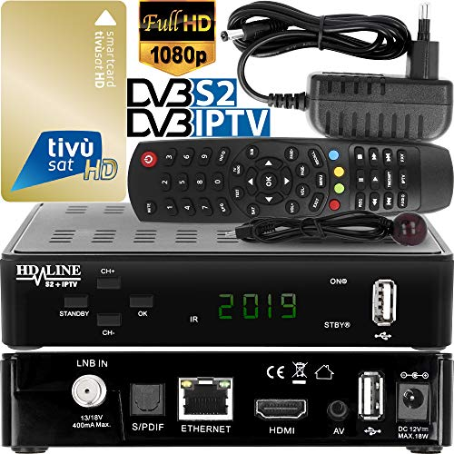 hd-line Tivusat Satelliten Decoder - Digitaldecoder für DVB-S, DVB-S2 [Tvsat IPTV-Decoder - TV - 4K - HD - 3G WiFi Xtream] - (FTA HD-Satellitendemodulator)- Schwarz Video-decoder