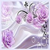 BHXINGMU Benutzerdefinierte Fototapete 3D Floral Purple Rose Hintergrund Moderne Einfache Romantische Wohnzimmer Schlafzimmer Wand Design Wandbild Papier 230Cm(H)×310Cm(W)