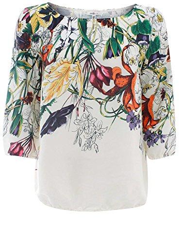 oodji Collection Mujer Blusa Estampada de Gasa, Marfil, ES 46 / XXL