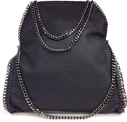 Limited-Colors Borsa Vivien da Donna, in Nero, grigio, rosa, Jeans, effetto pelle, con catena, Nero (Schwarz Lederstruktur), L