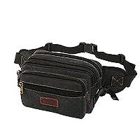High Capacity Waist Pack, SUNSEATON 6 Zip Pockets Travel Hiking Outdoor Sport Bum Bag Fanny Pack - Black