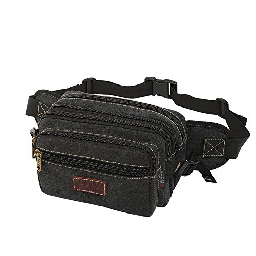 SUNSEATON Marsupio Uomo, Grande Marsupio con 7 Tasche Bum Bag Cintura Regolabile Singola Spalla per Escursionismo Casuale Bicicletta (Nero)
