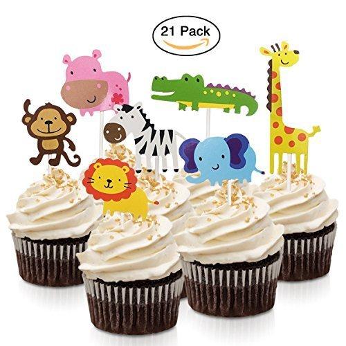 fishmm 21pcs Motiv Zoo-Tiere Cupcake-Dekoration mit Dschungel Tiere, Kuchen-Dekoration f�r Kinder, Baby Dusche, Geburtstag party-Kuchen-Dekoration