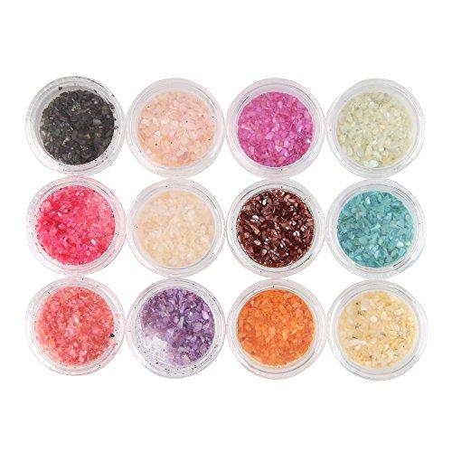 Beauty7 Nail Art 12 Pots 3D Poudre de Coquille Glitter Paillette Poussière Micro Billes Pour Ongle Décorations Vernis à Ongles UV Gel Manucure DIY