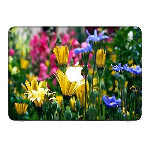 Blumen 10030, Blumenfeld, Skin-Aufkleber Folie Sticker Laptop Vinyl Designfolie Decal mit Ledernachbildung Laminat und Farbig Design für Apple MacBook Pro 13