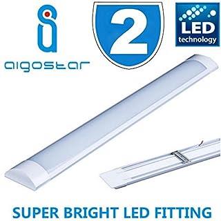 2x Hight Lumen 5FT 50w LED Batten Tube Linear Light Slim Ceiling Surface Mounted Daylight Wide 1500mm 150cm Low Energy Saving Bedroom Office Utility Strip Fitting 6000k