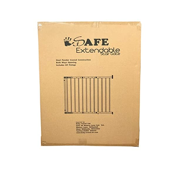 iSafe Wall Fix Extendable Metal Stairgate Safety Barrier Stair Gate - White iSafe Suitable for children from approx. 6 to 2 years Full opening with no step over bar Easy width adjustment from 67 cm to 104 cm 2