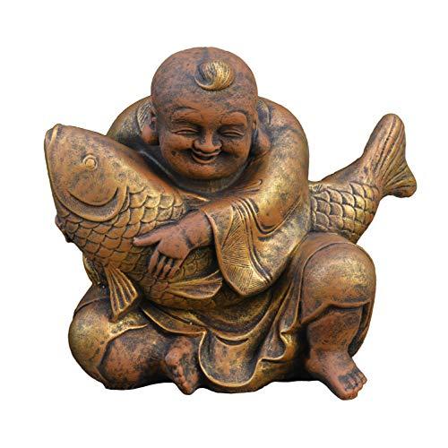 gartendekoparadies.de Großer massiver lustiger Buddha Mönch mit Koi aus Steinguss frostfest (Gold)
