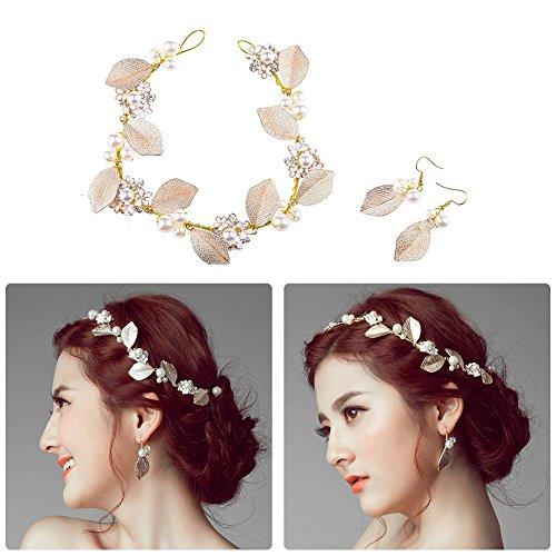 Oshide Haarschmuck Hochzeit Vintage Gold Perlen Haarband Mit Blatt Ohrring Schmuck Set - 2