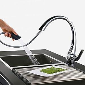 HOMELODY Grifos de Cocina Extraíble 2 Funciones 360° Giratorio Grifería de Fregadero Grifo de Monomando Grifería de Agua…