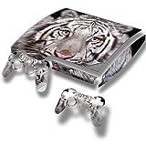 Tigre Blanc, Autocollant Skin Peau Vinyl avec Motifs Colorés et Effet de Cuir pour PlayStation 3 Slim