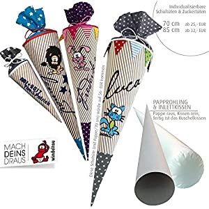 Schultüte, Zuckertüte in 70 cm oder 85 cm, beige/weiß gestreift inklusive Papprohling mit vielen Personalisierungsmöglicheiten, als Kuschelkissen weiter nutzbar