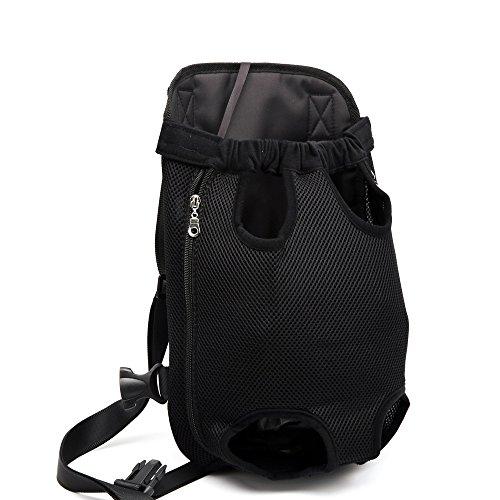 DJG Reisehaustierrucksack Haustierausflug Tragbarer Hunderucksack Hundebrusttasche Easy-Fit für Reisen Wandern Camping für kleine, mittelgroße Hunde-Schwarz,XL