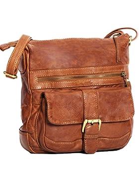 ALMADIH *Abby* Leder Damentasche aus Premium Rindsleder braun Vintage - Ledertasche Umhängetasche Schultertasche...