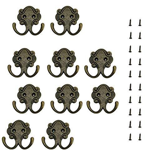 Log-Cabin 10 Stück Vintage Doppelmantelhaken Wandhaken Zinklegierung Vintage-Mantelhaken Hut-Wandhaken, Türhaken mit Schrauben rostfrei, robust für Bad & Küche - Vintage Cabin