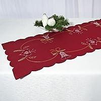 Affascinanti Runner da tavola, tema: Natale, di alta qualità con motivi ricamati in rosso - XL - dimensioni 35 x 140 cm - Autunno Inverno Natale - disponibile anche come tovaglia