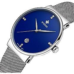 Herren Luxus Ultra-Dünn Fashion Business Kalender Quarzuhr Herren Armbanduhr Business Edelstahl Mesh Band Blau