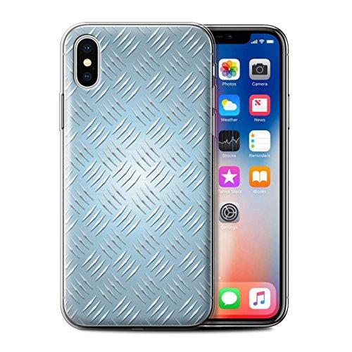 Stuff4 Gel TPU Hülle / Case für Apple iPhone X/10 / Gold Muster / Geprägte Metall Mutser Kollektion Blau