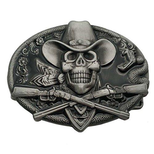 YONE Western Cowboy Skull Pirate Rifles Belt Buckle Black Gürtelschnallen
