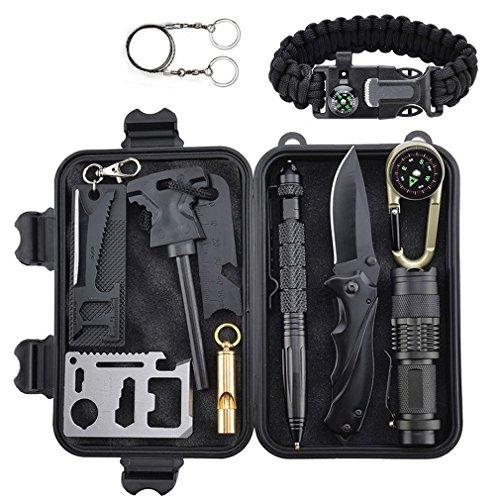 Survival Kit 11 in 1 Außen Survival Set Notfall Selbsthilfe Werkzeuge Camping Wandern Fahrzeug Box Set mit Klappmesser, Feuerstarter, Kompass, Taschenlampe, Whistle, Tactical Pen,Survival Armbändern (Wie Man Survival Armbänder)
