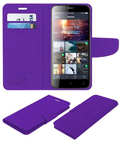 ACM Mobile Leather Flip Flap Wallet Case for Karbonn Quattro L55 Hd Mobile Cover Purple