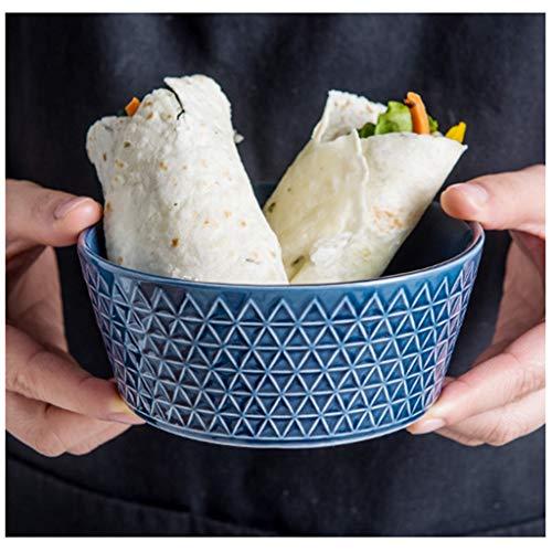 YYF Bol de riz bleu en céramique à usage domestique - Assiette à soupe pour bol européen (Taille : 12.4cm)
