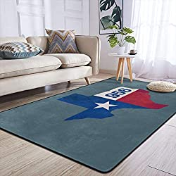 Heteyys Texas USA 956 Area Code Indoor Floor Mat Living Room Household Carpet Children Play Mat Rectangle Carpet 84x60 in,Black,One Size
