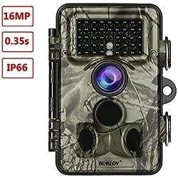 """BOBLOV Cámara de Trail 1080P 16MP Caza Cámara 2,4"""" TFTLCD No Glow LED IP66 Impermeable 940nm Visión Nocturna Seguridad Vigilancia"""