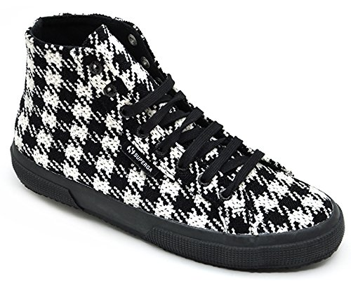 Superga 2795-Woolwpieddepoule, Chaussures de Gymnastique Femme Black-White