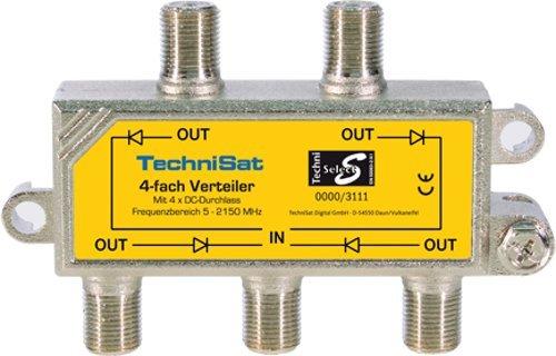 TechniSat 4-Wege Sat-Verteiler (4x DC-Durchlass, Diodenentkoppelt)