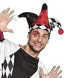 Confettery - Harlekin Kasper Hut mit Bommel drei Zipfel Kasperle Joker Kostüm, Mehrfarbig