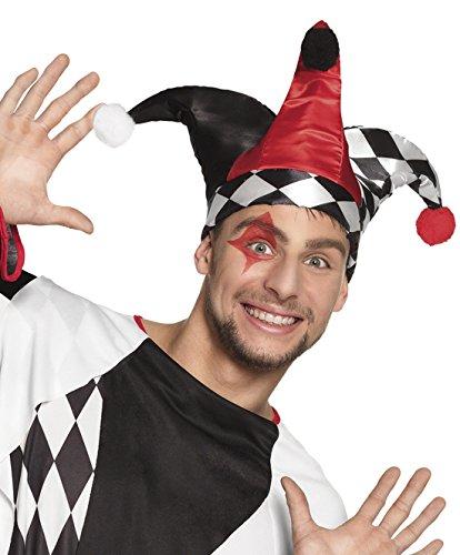 n Kasper Hut mit Bommel drei Zipfel Kasperle Joker Kostüm, Mehrfarbig (Harlekin Joker Kostüme)