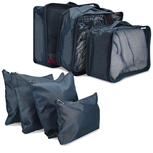 Navaris Koffer Packtaschen Set 7-teilig - 7x Kleidertaschen Schuhbeutel Wäschebeutel Packing Cubes - Gepäck Organizer Kofferorganizer Dunkelblau