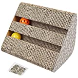 Electomania Corrugated Cardboard Cat Scratcher Kitty Scratching Pad Scratch Lounge Bed with Natural Catnip Bell Ball Toy (Grey)