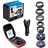 AmiciKart Apexel 7 In 1 Phone Camera Lens Kit, Fish Eye Wide, Angle/macro Lens, CPL Kaleidoscope And 2X Telephoto Zoom Lens