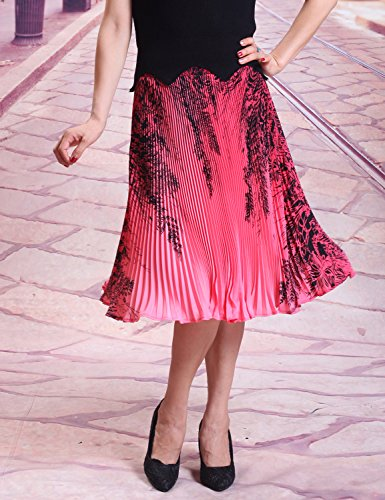 Relaxfeel Taille haute froncée féminine Midi formelle Jupe plissée Rouge noir