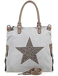 a37cc964503c9 NavyBlu® Damen vintage Schultertasche Canvas Tasche mit Stern Handtasche  Umhängetasche…