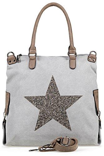NavyBlu® Damen vintage Schultertasche Canvas Tasche mit Stern Handtasche Umhängetasche Henkeltasche E11-5