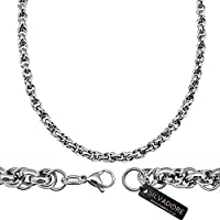 Silvadore - Men's Jewellery Necklace Chain - BELCHER Silver Stainless Steel - 20 Inch / 51 cm - 60 Days Money Back Guarantee - Velvet Pouch 03