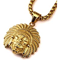 nyuk da uomo Indian Chief giallo 18 K catena Hip Hop collana