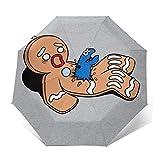 Parasol de Viaje Plegable y Plegable con diseño de Monstruo de Galleta de Gingerbread Man, Resistente al Viento, Compacto y con Apertura y Cierre automáticos