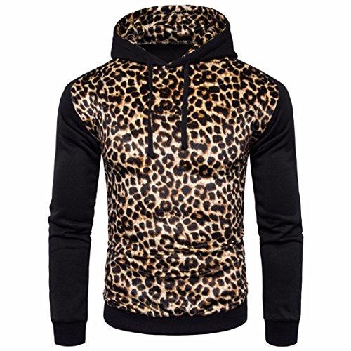 Amlaiworld Herren bunt Leopard Flickwerk Sweatshirt Fitness Winter Herbst Mäntel Freizeit dick Kapuzenpullover wild Warm Langarmshirts Mode Sport Pulli (M, (D Bügel Kostüm)