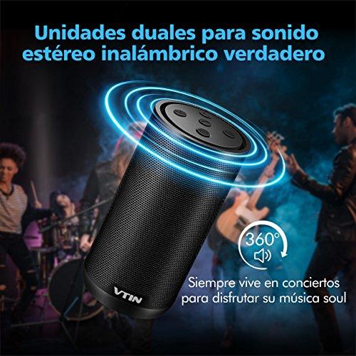 VICTSING Altavoz Bluetooth Portátil Estéreo Premium 12W con HD Sonido y Subwoofer. Bluetooth V4.2 y Micrófono incorporado Altavoz inalámbrico con 18 HORAS de Emisión Continua Negro