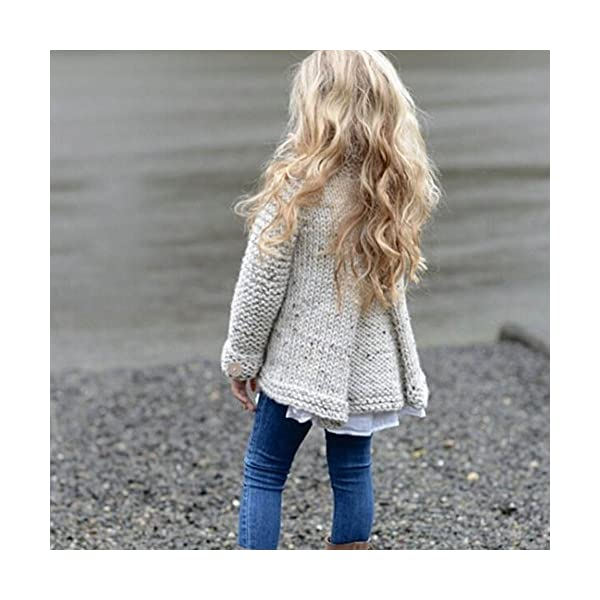 Ropa Niña Otoño e Invierno Chaqueta de Punto Abrigos Cremallera Espesar Peluche Color sólido Suéter Chaqueta Tejido de… 4