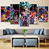 QJXX 5 Stück Artwork Canvases Gemälde Cartoon Dragon Ball Goku Super Saiyajin Leinwanddrucke Dekoration Für Hauptwandkunst,B,30×40Cm×2+30×60Cm×2+30×80Cm×1
