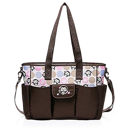 mengma nappytote Bag Wasserdichte Nylon Baby Still Tasche Microfaser Windeltaschen BOLSA maternidade Pink Monkey 2Farben pink coffee
