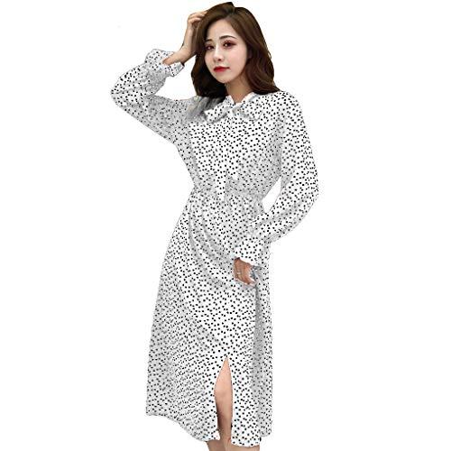 Druck-knie-länge-kleid (Provide The Best Frauen-Frühlings-Druck-Kleider lang Rüschen Aufflackern-Hülsen-Chiffon-Kleid Split)