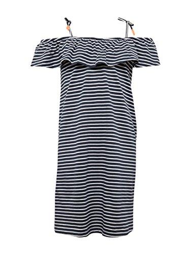 TOM TAILOR Mädchen Kleider & Jumpsuits Gestreiftes Kleid mit Carmen-Ausschnitt