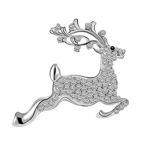 reative Hirsch Form Design mit Strasssteine Broschen Kleidung Dekoration Damen Brosche Schmuck Zubehör Mantel Hemd Deko Weihnachten Brooch (Mantel Dekorationen Für Weihnachten)